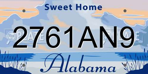 2761AN9 Alabama License Plate