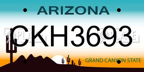 CKH3693 license plate in AZ state