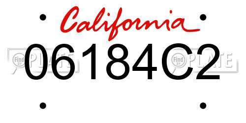 06184C2 California License Plate
