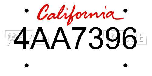4AA7396 license plate in CA state