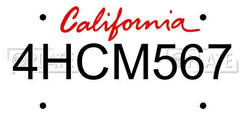 4HCM567 California License Plate