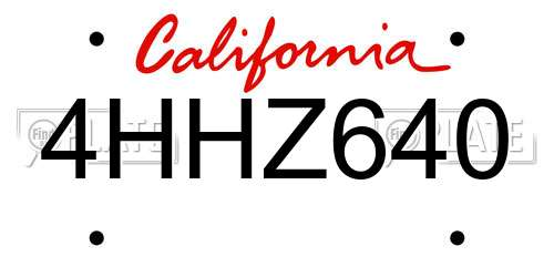 4HHZ640 California License Plate