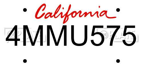 4MMU575 California License Plate