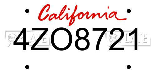 4ZO8721 California License Plate