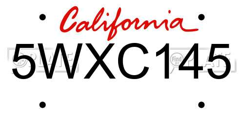 5WXC145 California License Plate