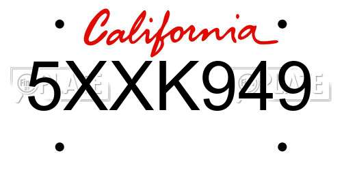 5XXK949 California License Plate