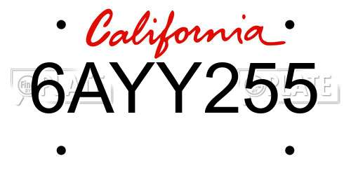 6AYY255 California License Plate