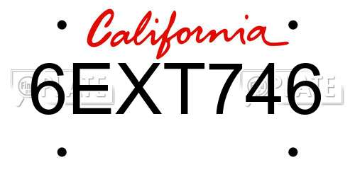 6EXT746 California License Plate
