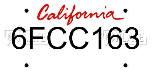 6FCC163 California License Plate