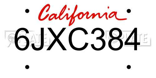 6JXC384 California License Plate