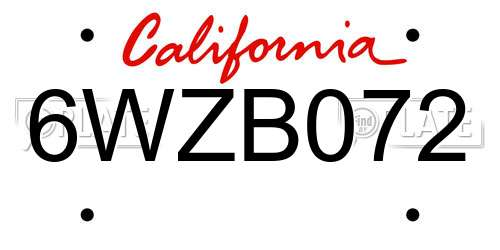 6WZB072 California License Plate