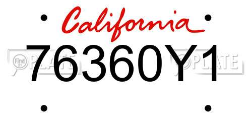 76360Y1 license plate in CA state