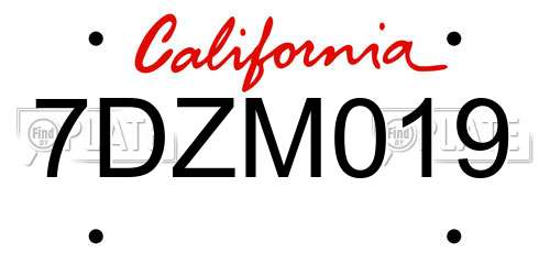 7DZM019 California License Plate