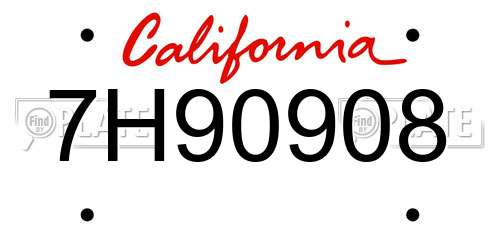 7H90908 California License Plate