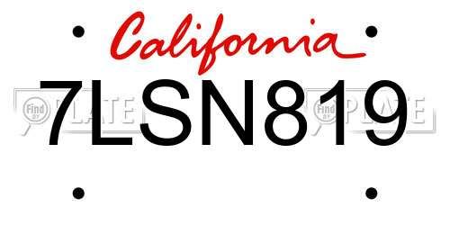 7LSN819 license plate in CA state