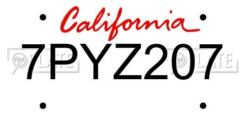 7PYZ207 California License Plate