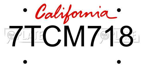7TCM718 license plate in CA state