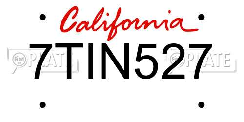 7TIN527 license plate in CA state