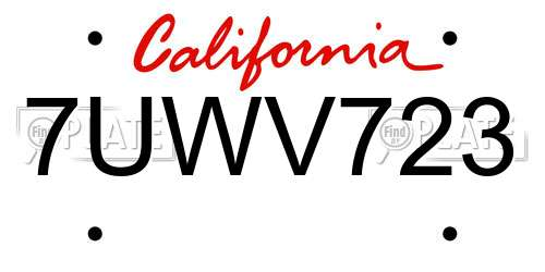 7UWV723 California License Plate