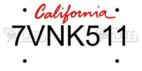 7VNK511 license plate in CA state