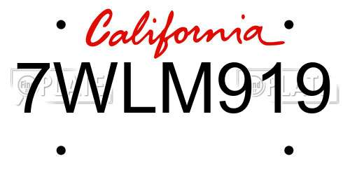 7WLM919 California License Plate