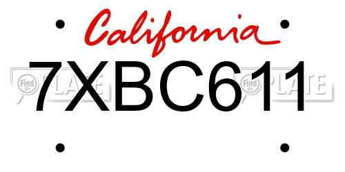 7XBC611 California License Plate