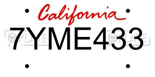 7YME433 California License Plate