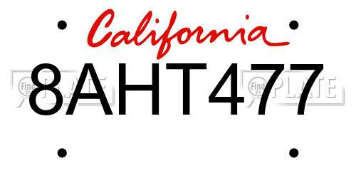 8AHT477 California License Plate