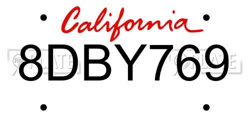 8DBY769 California License Plate