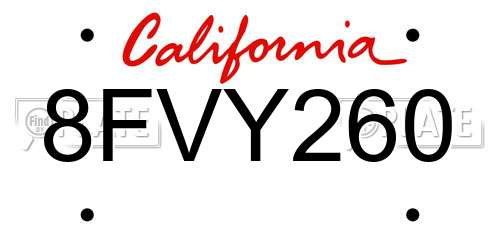 8FVY260 California License Plate