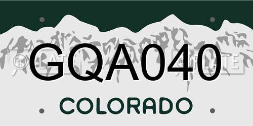 GQA040 Colorado License Plate