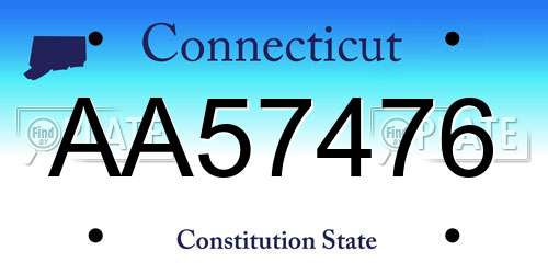 AA57476 Connecticut License Plate