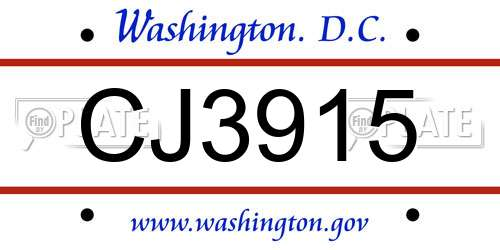 CJ3915 District Of Columbia License Plate