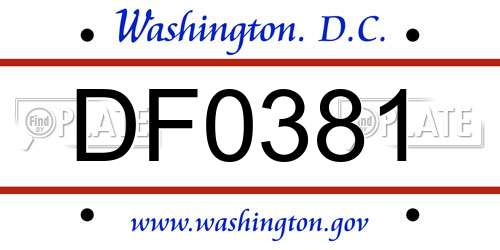 DF0381 District Of Columbia License Plate