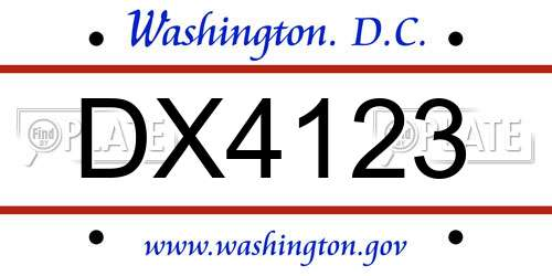 DX4123 District Of Columbia License Plate