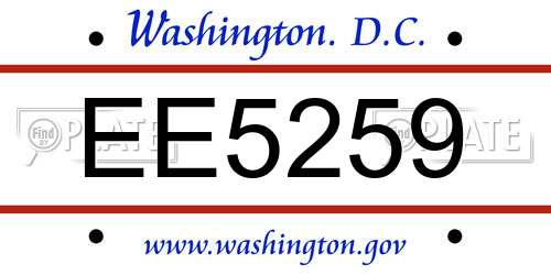 EE5259 District Of Columbia License Plate