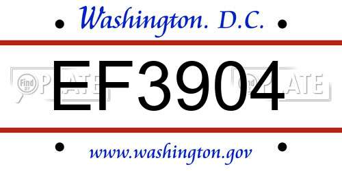 EF3904 District Of Columbia License Plate