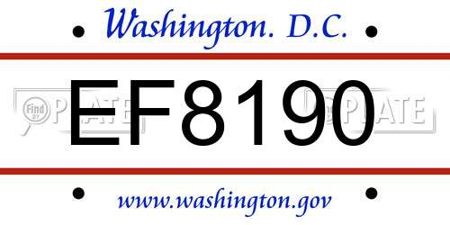 EF8190 District Of Columbia License Plate