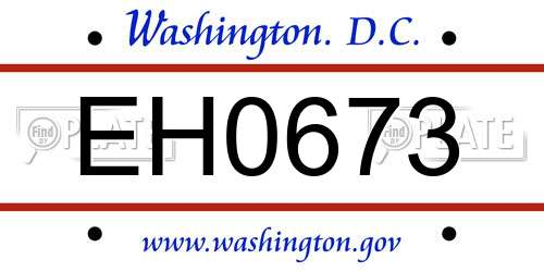 EH0673 District Of Columbia License Plate