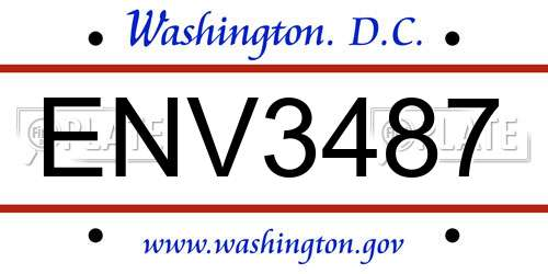 ENV3487 District Of Columbia License Plate