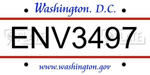 ENV3497 District Of Columbia License Plate