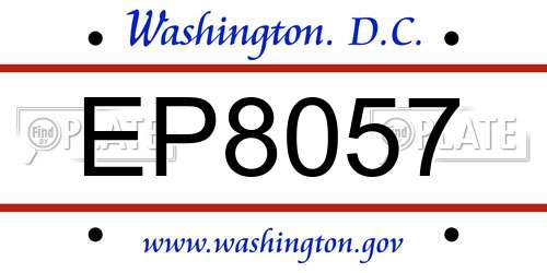 EP8057 District Of Columbia License Plate