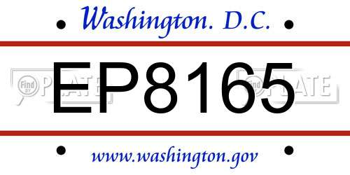 EP8165 District Of Columbia License Plate
