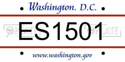 ES1501 District Of Columbia License Plate