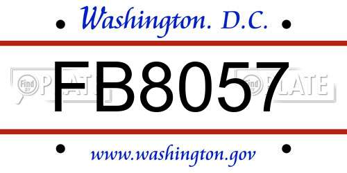 FB8057 District Of Columbia License Plate