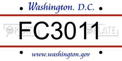 FC3011 District Of Columbia License Plate