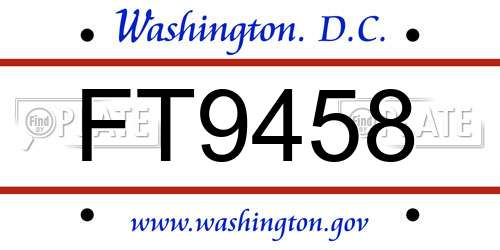 FT9458 District Of Columbia License Plate