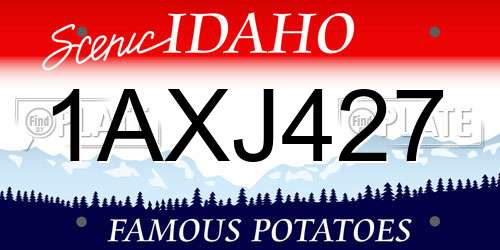 1AXJ427 Idaho License Plate