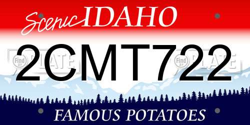 2CMT722 Idaho License Plate