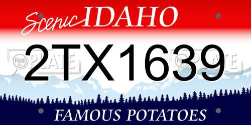 2TX1639 Idaho License Plate